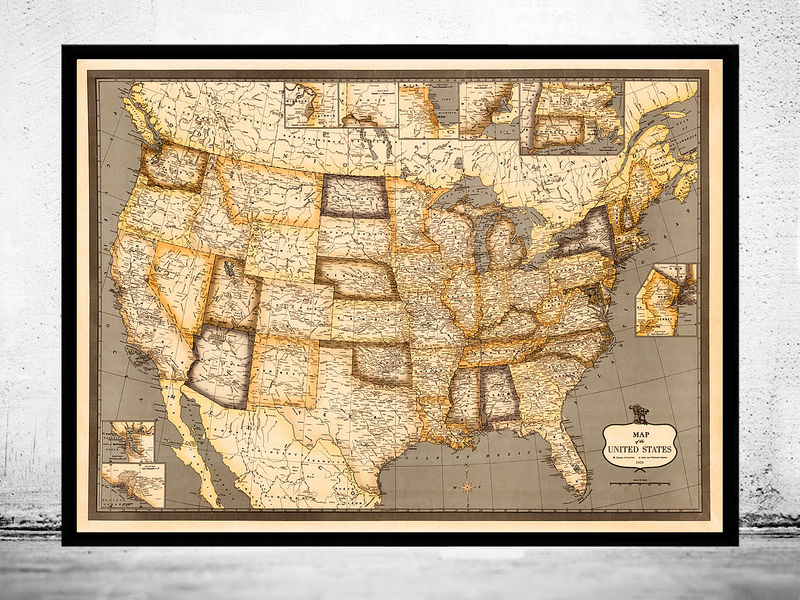 Old Map of United States America