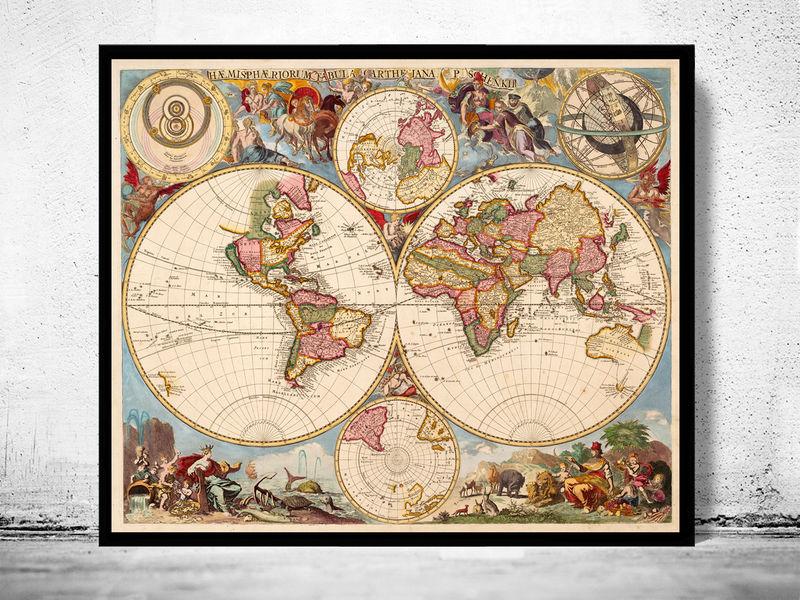 Antique World Map 1700