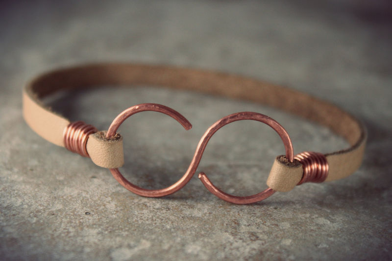 Infinity Bracelet Leather Copper Uni Ankle