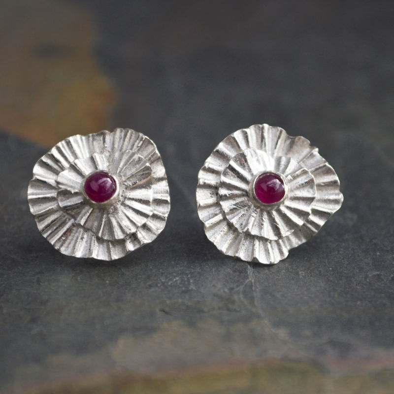 Ruby Stud Earrings In Fine Silver With Genuine Gemstone Abiquiu Poppy 15th Wedding Anniversary Gift 40th 125