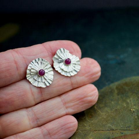 Ruby Stud Earrings In Fine Silver With Genuine Gemstone Abiquiu Poppy 15th Wedding