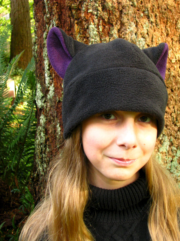 94184003324 Fleece Kitty Cat Hat - Black   Aubergine Eggplant Purple Cat Ear Hat -  product image
