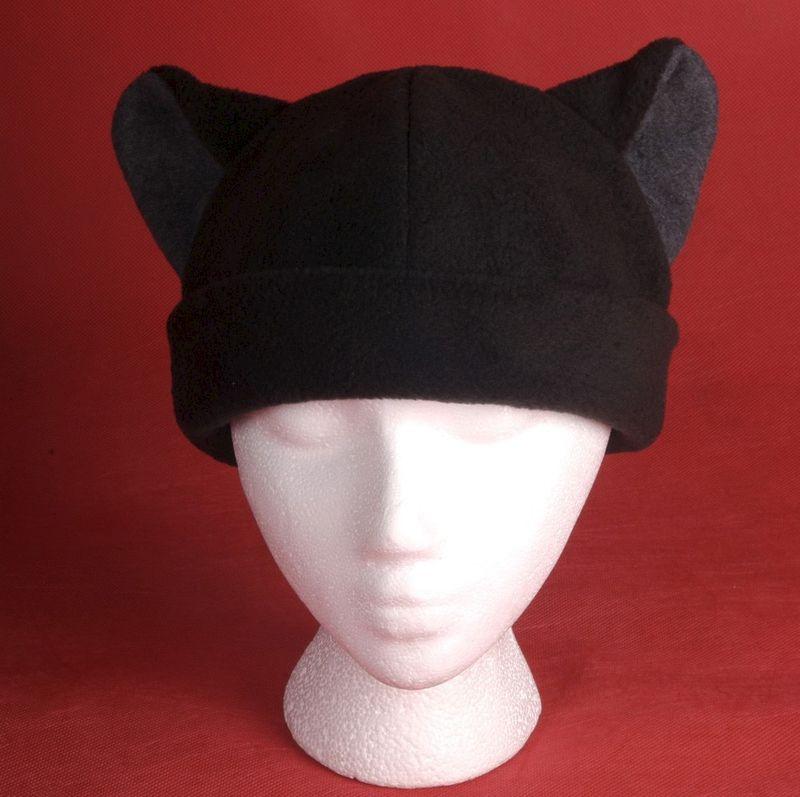 Cat Hat - Black   Gray Fleece Cat Ears - Ningen Headwear a6d92e51c14