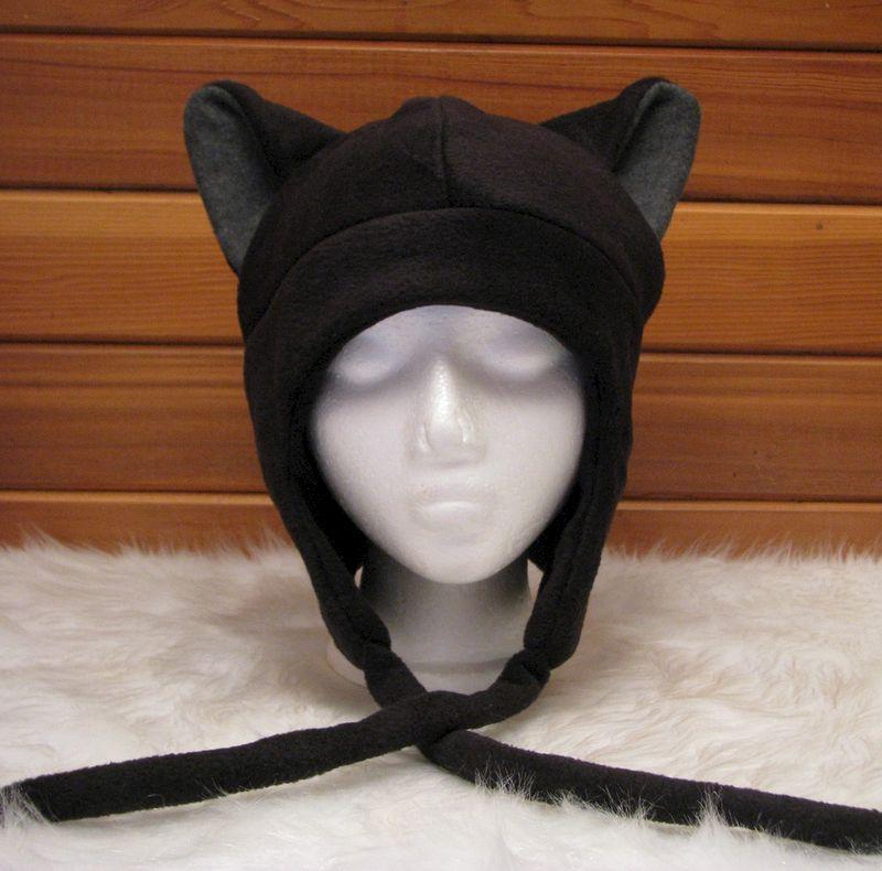 cat ear hat black grey fleece kitty ear flap aviator ningen