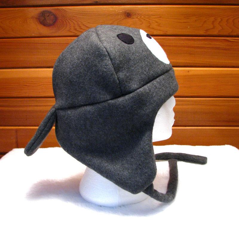 368889c99b3263 Manatee Hat - Dark Gray Fleece Trapper Hat - Ningen Headwear