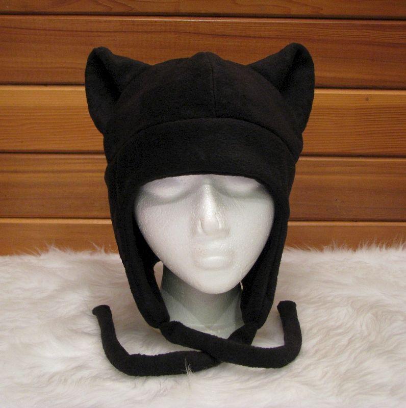 Black Cat Hat - Fleece Kitty Ear Aviator Earflap - Ningen Headwear 488a2c639c7