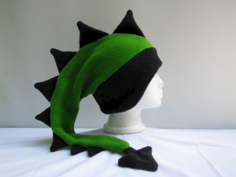 15a79be0e74 Fleece Dragon Hat - Lime Green   Black - Ningen Headwear