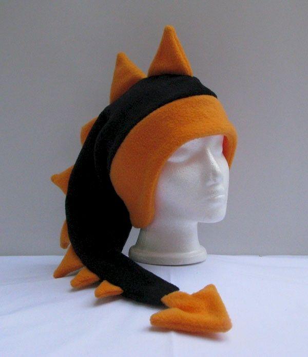 c8e8e4cb18a Dragon Hat - Black   Bright Orange Fleece - Ningen Headwear