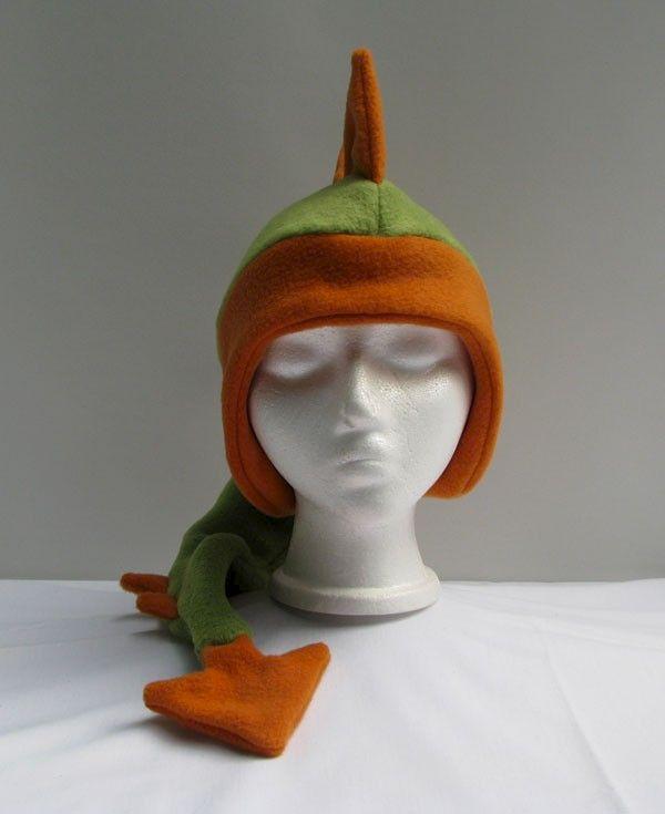 e7938eb97d6 Dragon Hat - Green   Orange Fleece - Ningen Headwear