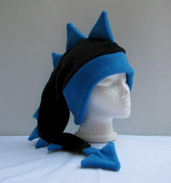 df674b5f786 Fleece Dragon Hat - Black   Peacock Blue - Ningen Headwear