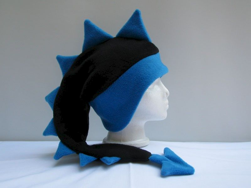3e9e14c5522 Fleece Dragon Hat - Black   Peacock Blue - Ningen Headwear