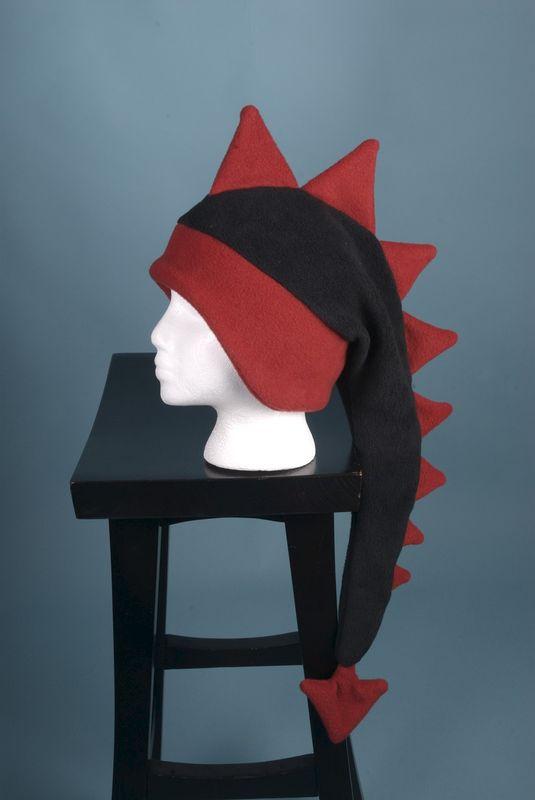 b811f307d9d Dragon Hat - Black   Red Fleece Dinosaur Spiked Hat - Ningen Headwear