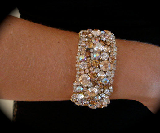 Golden Champagne Crystal Cuff Bracelet Product Images Of