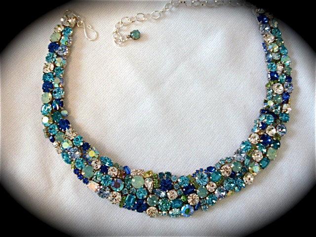 Tropical Blue Opal Swarovski Crystal Statement Necklace
