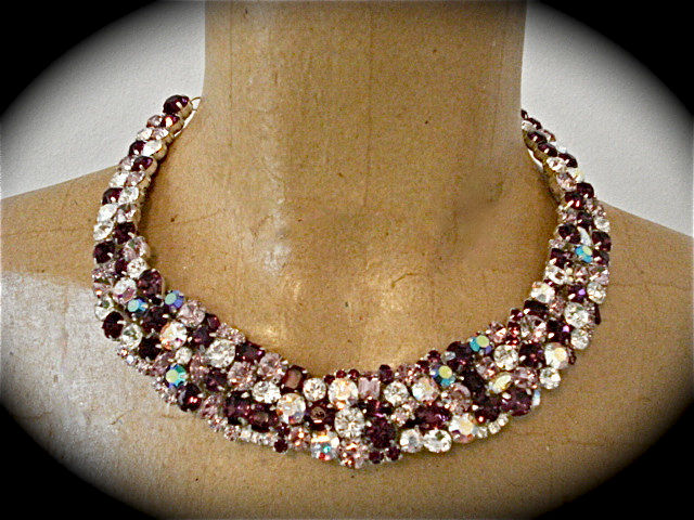 Swarovski Amethyst Crystal Statement Necklace The