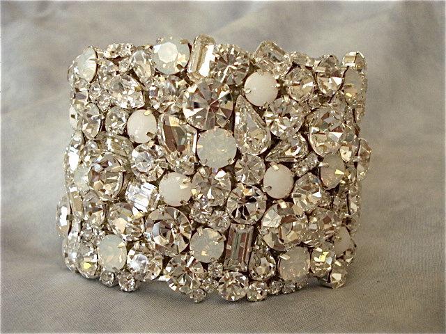 Swarovski White Opal Alabaster Crystal Bridal Bracelet