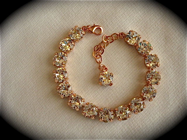 Rose Gold Crystal Bridal Bracelet Bridesmaid Tennis
