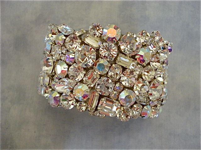 Swarovski Crystal Clear Bridal Statement Bracelet Wide