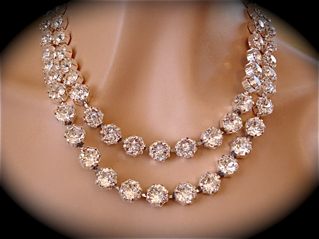 Double Strand Swarovski Crystal Statement Necklace The