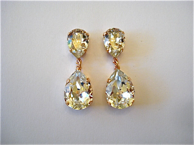 Rose Gold Crystal Double Pear Earrings Twin Teardrops Product Images Of