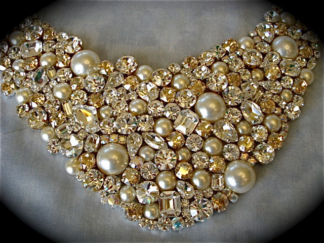 Champagne Crystal And Pearl Wedding Statement Necklace