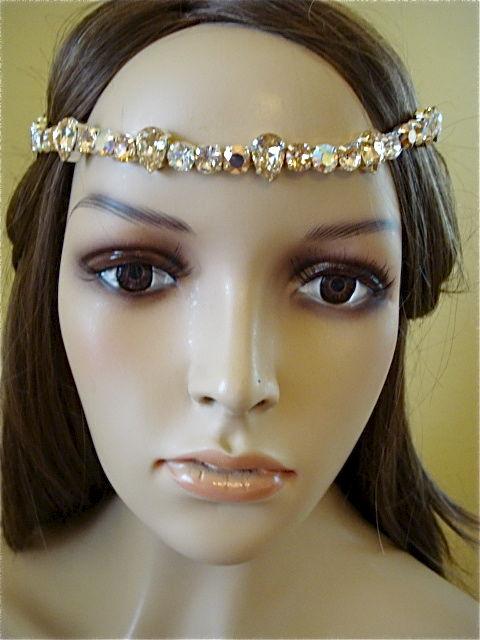 Rose Gold Crystal Bridal Brow Band - Headband - product images of 21b74d57edd