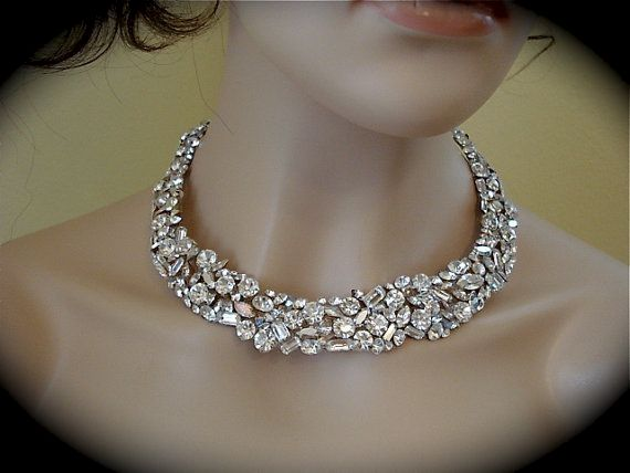 Swarovski Crystal Mosaic Bridal Collar Statement Necklace