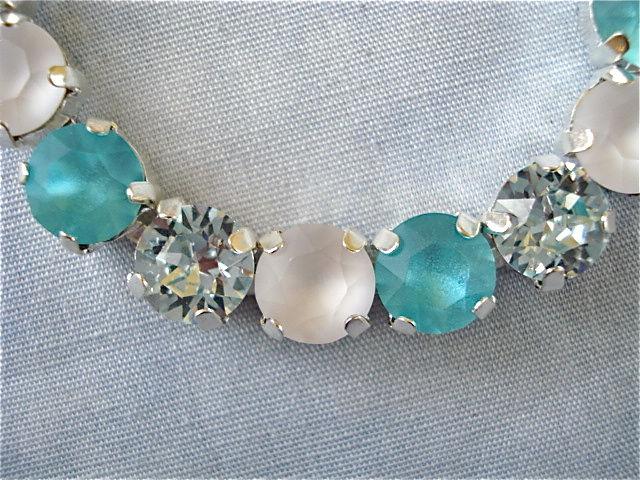 Swarovski Crystal Tiffany Blue Bridesmaid Tennis Bracelet