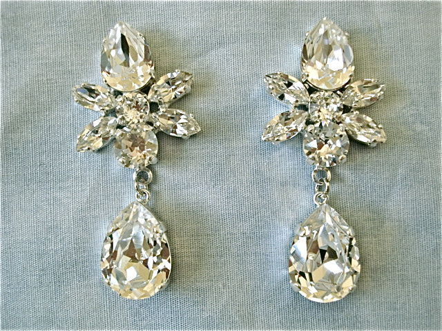 Swarovski Crystal Star Tear Drop Earrings
