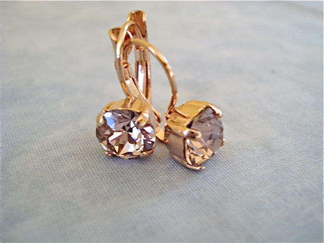Rose Gold Lever Back Earrings Vintage Product Images