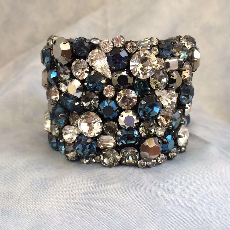 Dark Blue Bridal Cuff Bracelet Swarovski Rhinestone