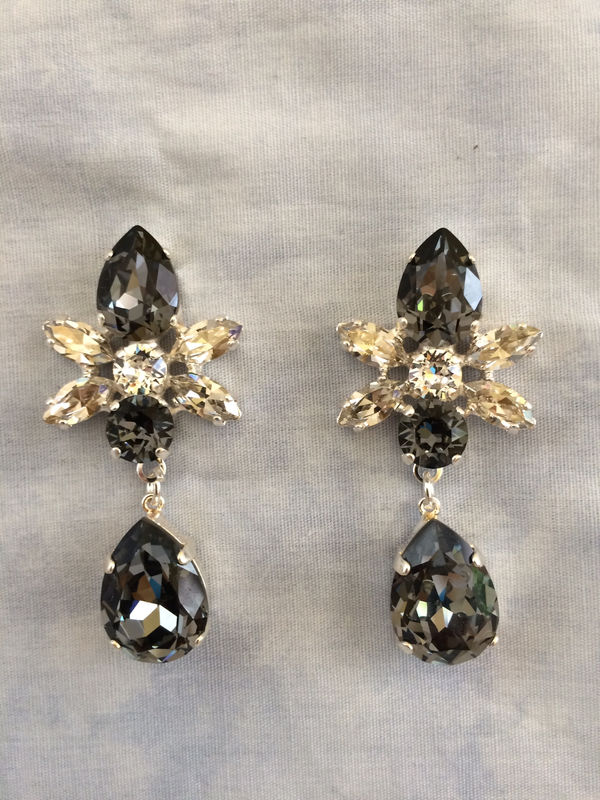 Swarovski Crystal Black Silver Star Tear Drop Earrings