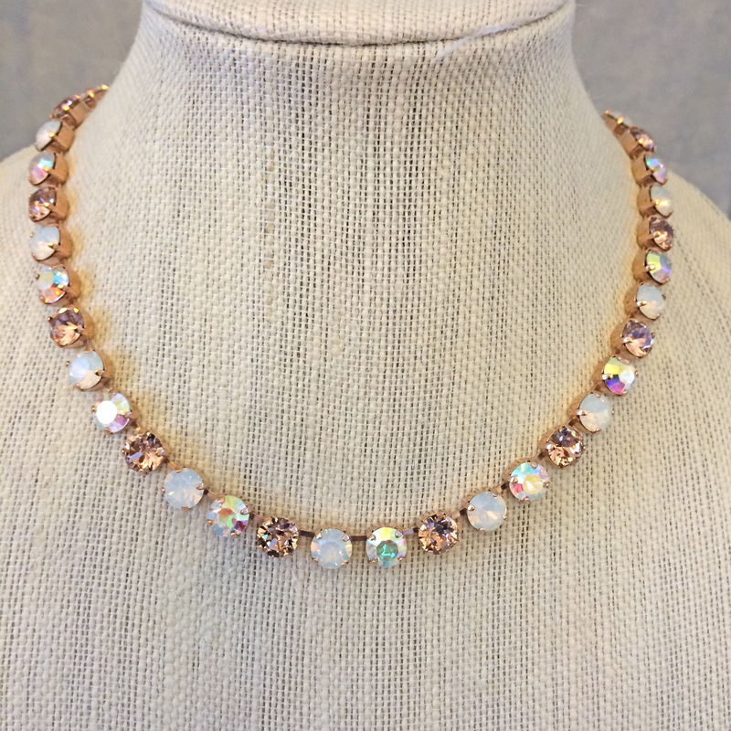 Rose Gold Vintage Rose Opal Bridesmaid Necklace The