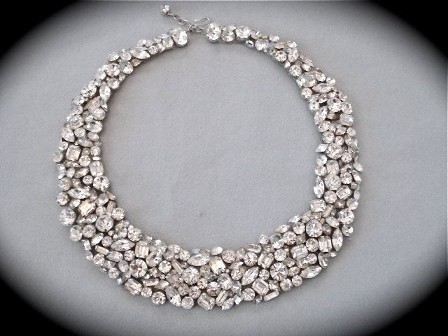 Swarovski Crystal Mosaic Bridal Statement Necklace The