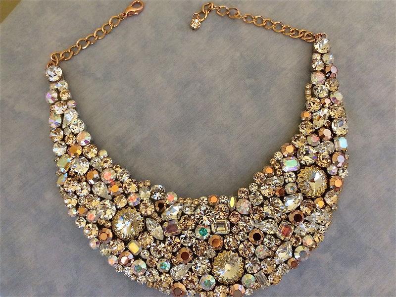 Rose Gold Bridal Statement Necklace The Crystal Rose