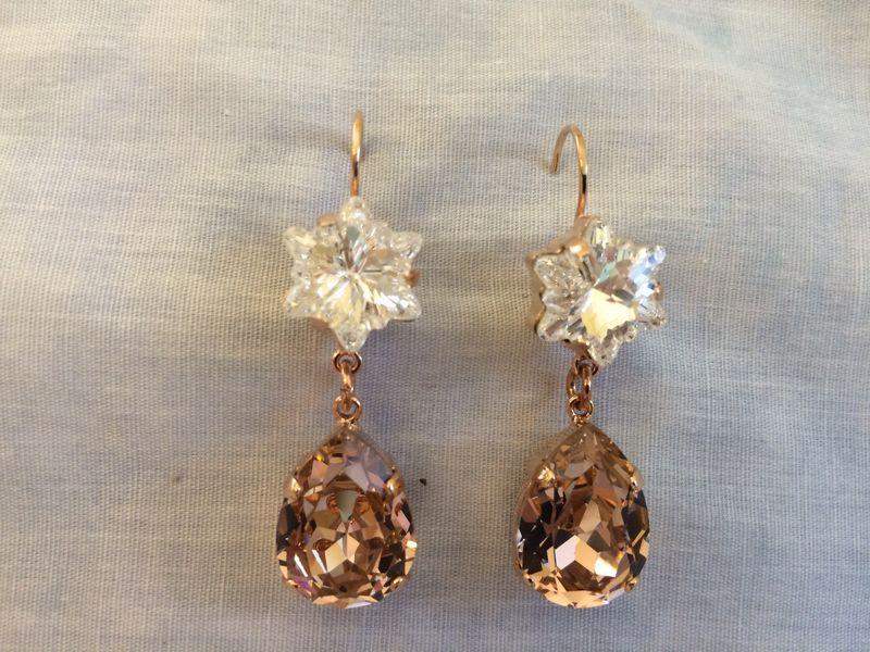 Rose Gold Rose Blush Crystal Flower Teardrop Earrings