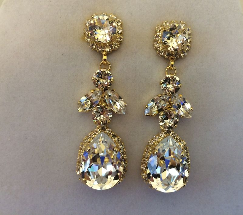 Swarovski Crystal Embellished Teardrop Dangle Earrings The Rose Bridal Jewelry And Accessories