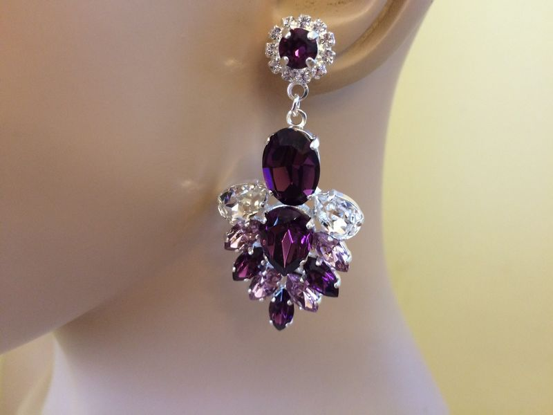 Amethyst Swarovski Crystal Statement Dangle Earrings The