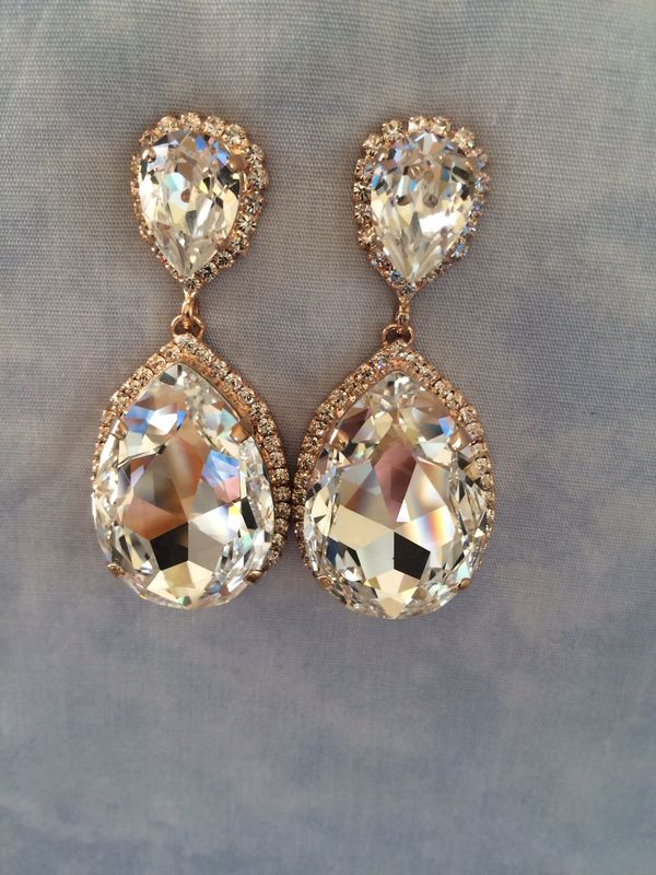 Rose Gold Swarovski Crystal Embellished Teardrop Earrings Product Images Of