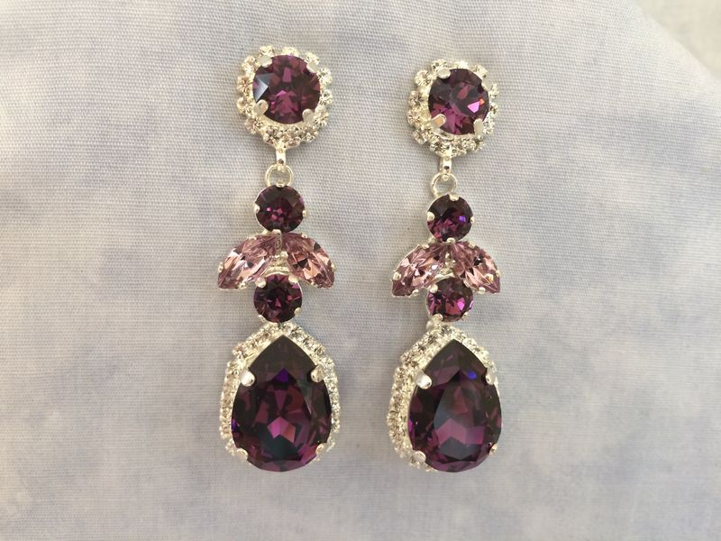 083046cc8 Amethyst Swarovski Crystal Embellished Teardrop Dangle Earrings - The  Crystal Rose Bridal Jewelry and Accessories