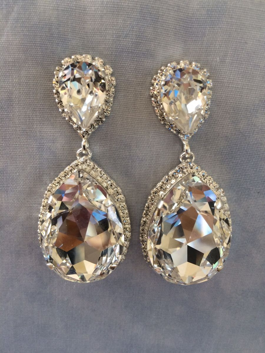 Swarovski Crystal Embellished Teardrop Earrings Silver