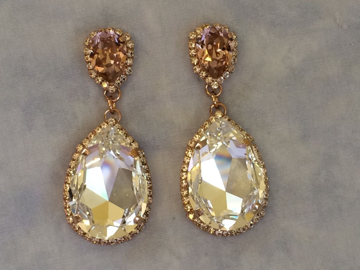 Blush Swarovski Crystal Embellished Teardrop Earrings