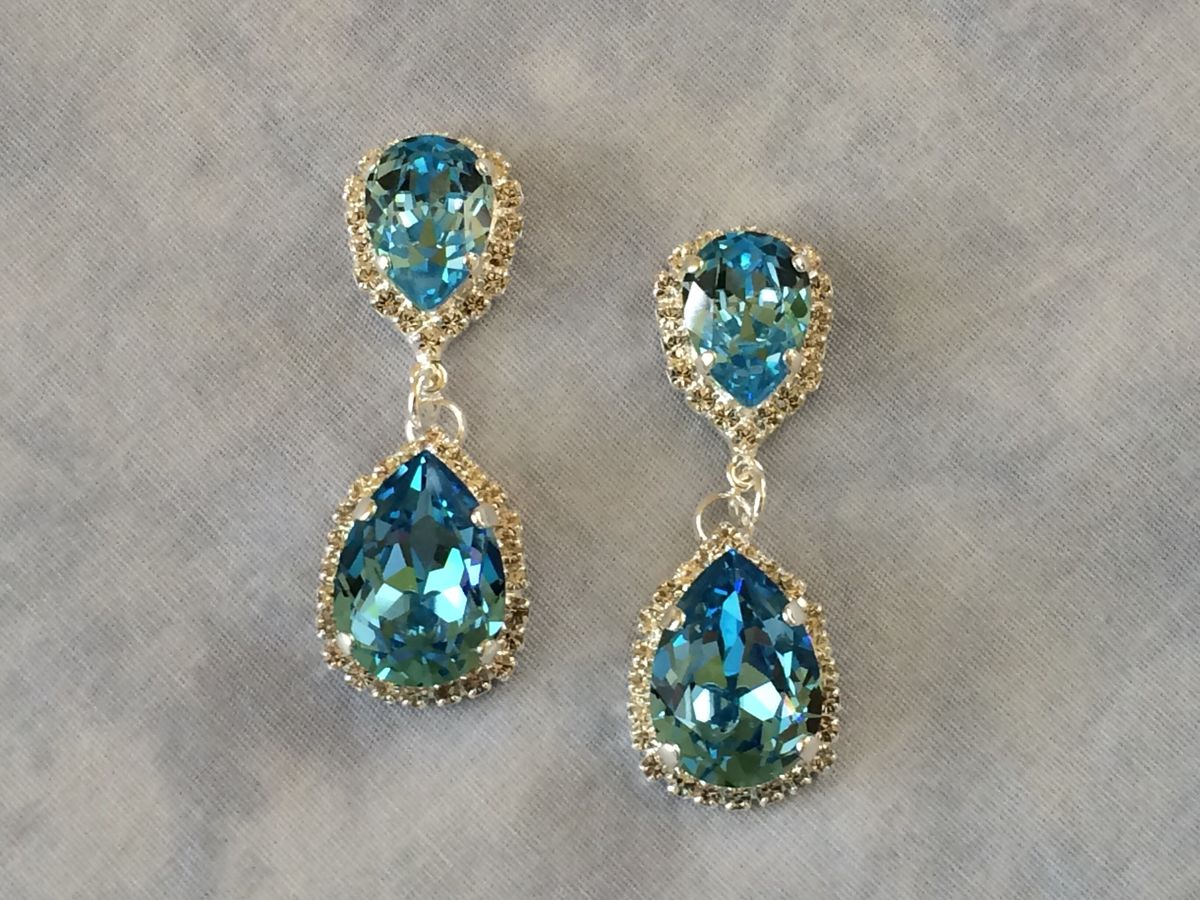 Aqua Swarovski Crystal Embellished Double Teardrop Bridal