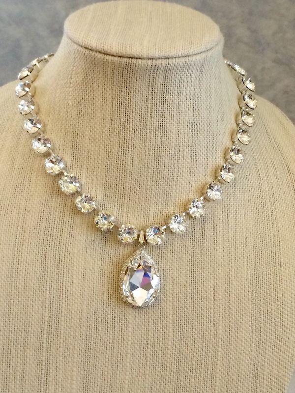 Swarovski Bridal Embellished Teardrop Pendant Necklace