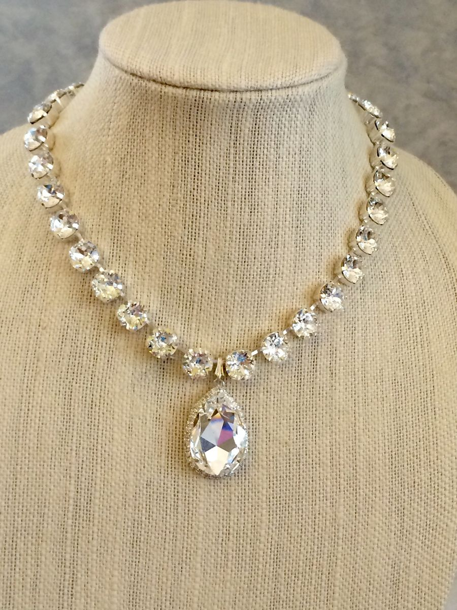 Swarovski Bridal Embellished Teardrop Pendant Necklace