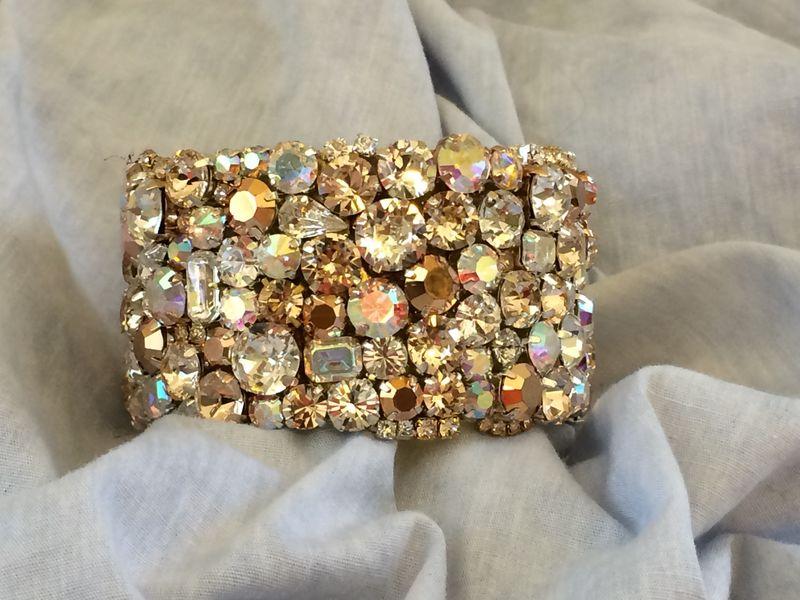 Rose Gold Swarovski Crystal Wedding Bracelet Wide Cuff