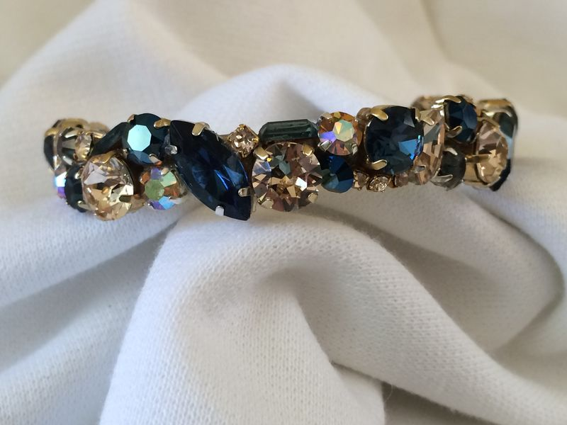Navy Blue Gold Swarovski Crystal Bridesmaid Cuff The
