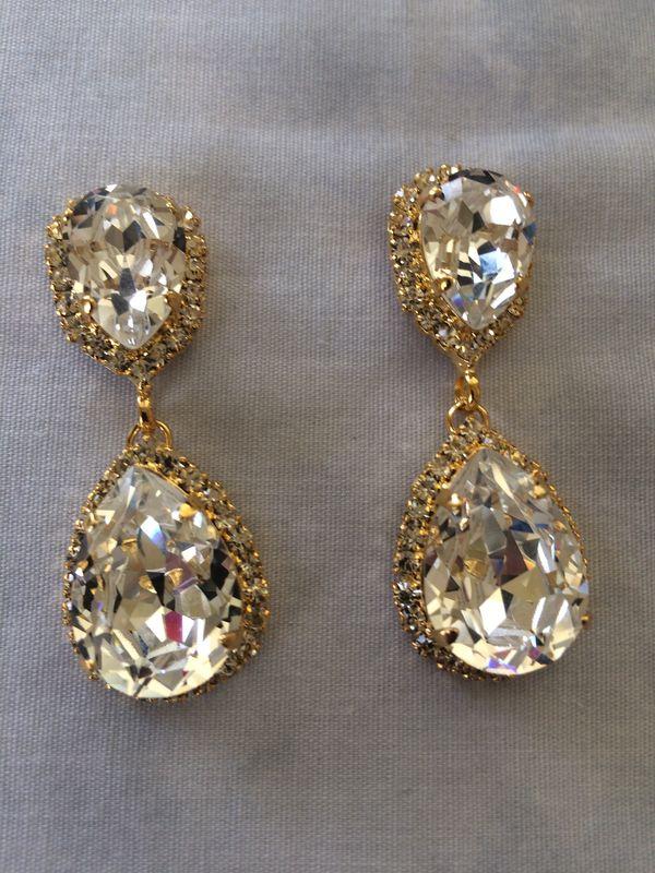 Swarovski Crystal Embellished Gold Double Teardrop Bridal Earrings