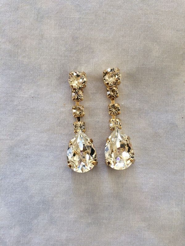 4b951e723cf0fb Swarovski Crystal Gold Dangle Tear Drop Earrings - The Crystal Rose Bridal  Jewelry and Accessories