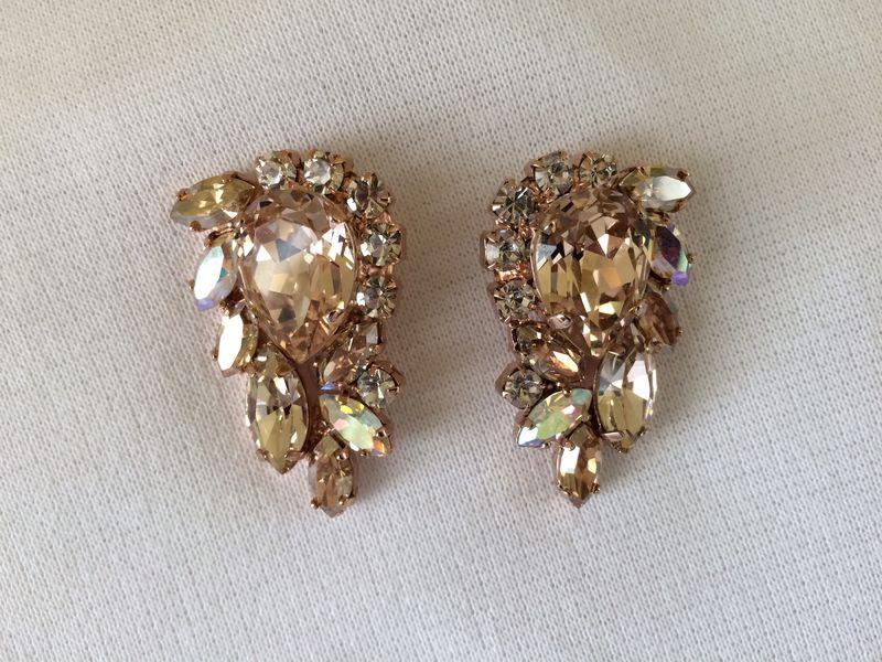 Swarovski Crystal Morganite Cluster Statement Earrings